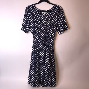 Norm Thompson Navy with White Polka Dot Dress, 1X